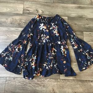 A.N.A. Floral Bell Sleeve Blouse